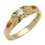 Trinity Knot Yellow Gold Solitaire Ring with Brilliant Cut Diamond