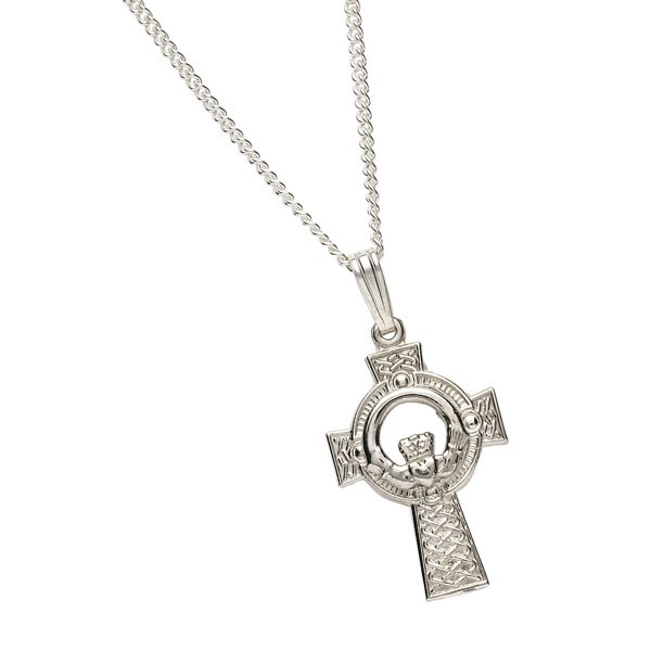 Large Claddagh Silver Cross