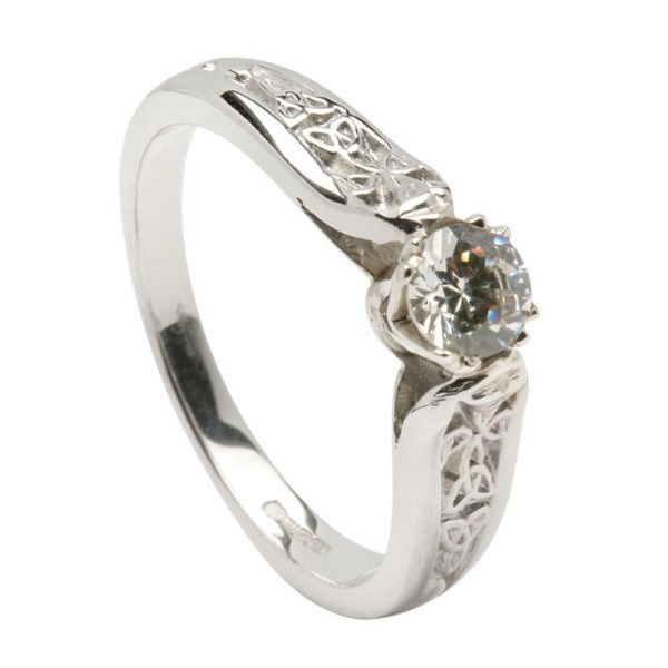 Diamond Engagement White Gold Ring with Trinity Shank - 0.5ct Diamond