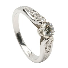 Diamond Engagement White Gold Ring with Trinity Shank