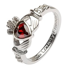 January Birthstone Claddagh Ring