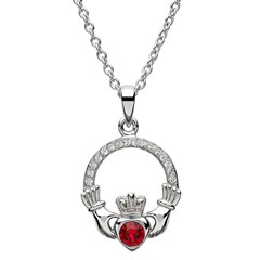 July Birthstone Claddagh Pendant