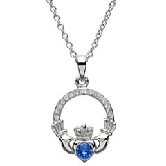 September Birthstone Claddagh Pendant