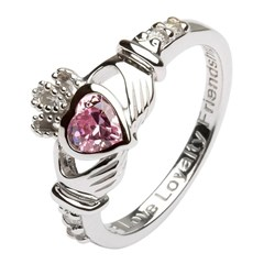 October Birthstone Claddagh Ring