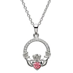 October Birthstone Claddagh Pendant