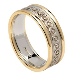 Continuity Knot Gold Wedding Ring with Trim