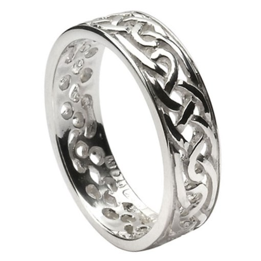 Filagree Celtic Silver Wedding Ring - Ladies