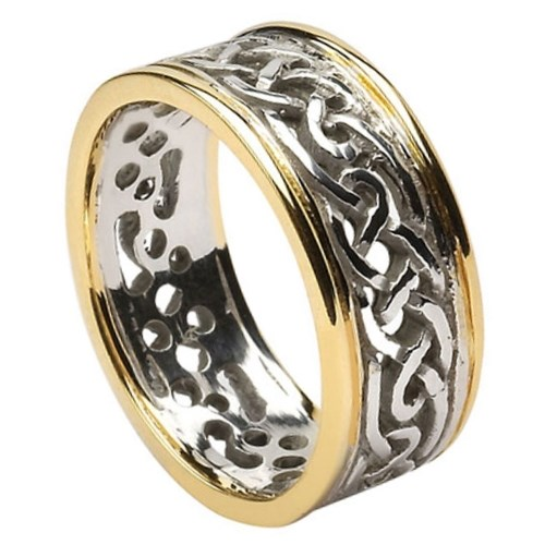 Filagree Celtic Gold Wedding Ring with Trim