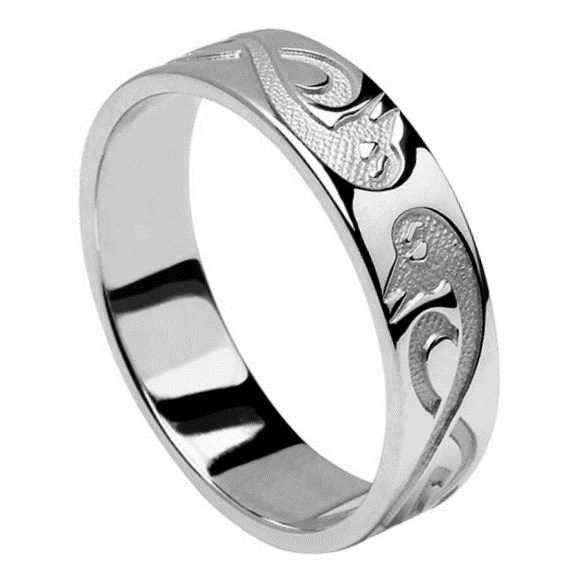 Le Cheile Celtic Silver Wedding Band