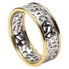 Trinity Knot Gold Wedding Ring with Trim