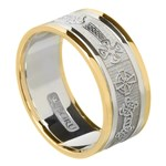 Celtic Cross Gold Wedding Ring with Trim - Gents