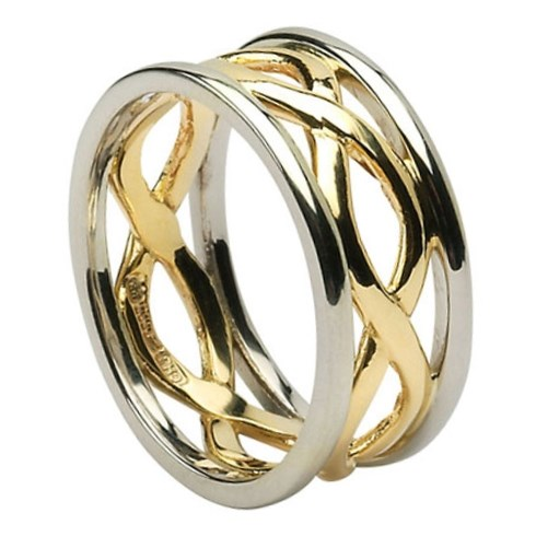 Infinity Weave Wedding Ring with Trim - Ladies