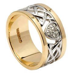 Diamond Encrusted Heart & Lovers Knot Unisex Wedding Band