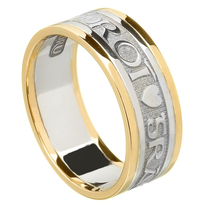 Love Of My Heart Gold Wedding Ring with Trim - Ladies