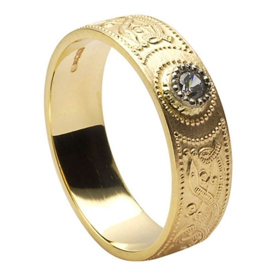 Celtic Warrior Diamond Set Wedding Band Celtic Wedding Rings