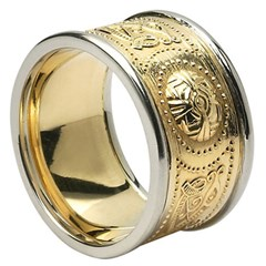 Gents Celtic Warrior Wide Wedding Band with Trim