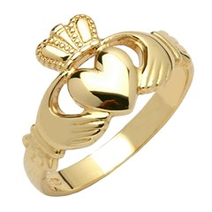 Gents Traditional Yellow Gold Claddagh Ring