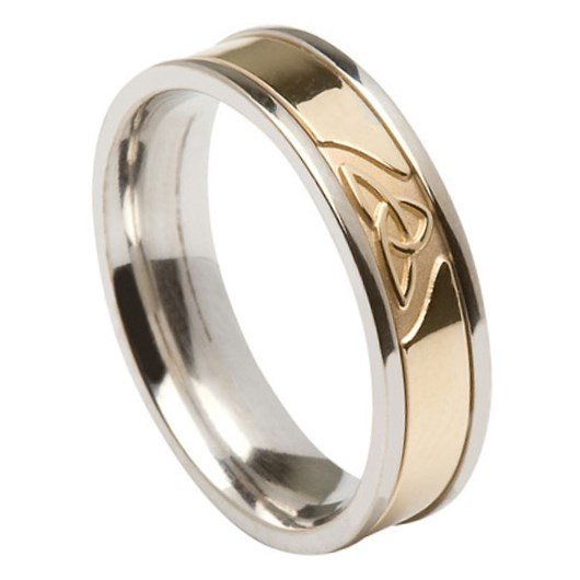 Trinity Knot White Gold Band with Yellow Gold Center