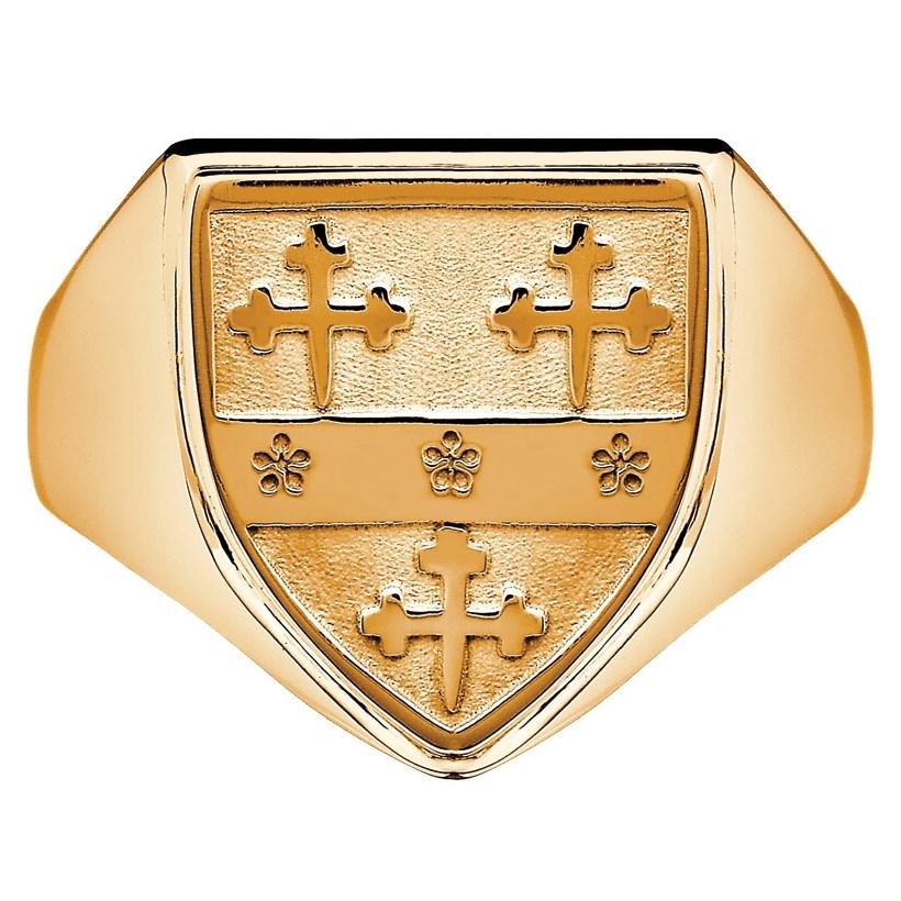 Gents Coat Of Arms Shield Yellow Gold Ring - Heraldry Coat Of Arms ...