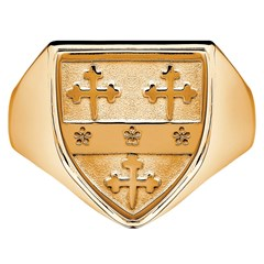 Gents Coat Of Arms Shield Yellow Gold Ring