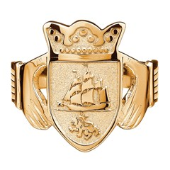 Gents Coat of Arms Yellow Gold Claddagh Ring