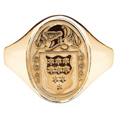 Ladies Coat of Arms Oval Yellow Gold Ring