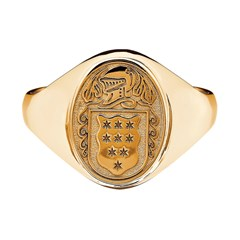 Ladies Coat of Arms Petit Oval Yellow Gold Ring