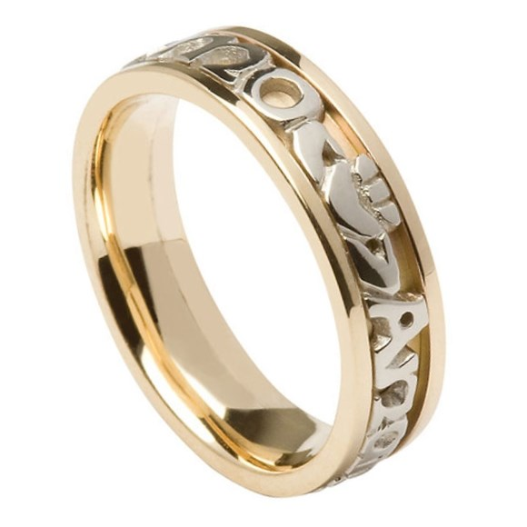 My Soul Mate Yellow Gold Band with White Gold Text