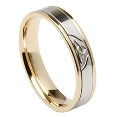 Trinity Knot Yellow Gold Band with White Gold Center