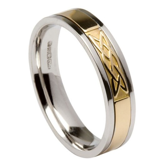 Lovers Knot White Gold Band with Yellow Gold Center