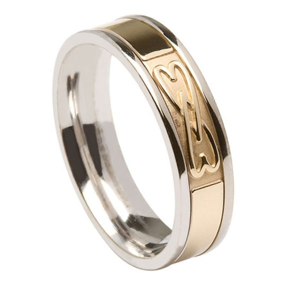 Two Hearts Entwined White Gold Band with Yellow Gold Center