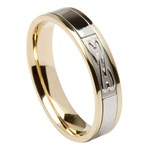 Two Hearts Entwined Yellow Gold Band with White Gold Center
