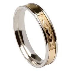 Claddagh White Gold Band with Yellow Gold Center