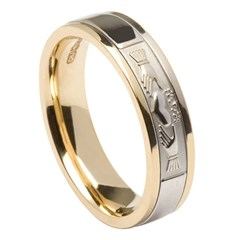 Claddagh Yellow Gold Band with White Gold Center