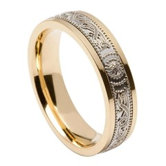 Celtic Warrior Narrow Yellow Gold Band with White Gold Center