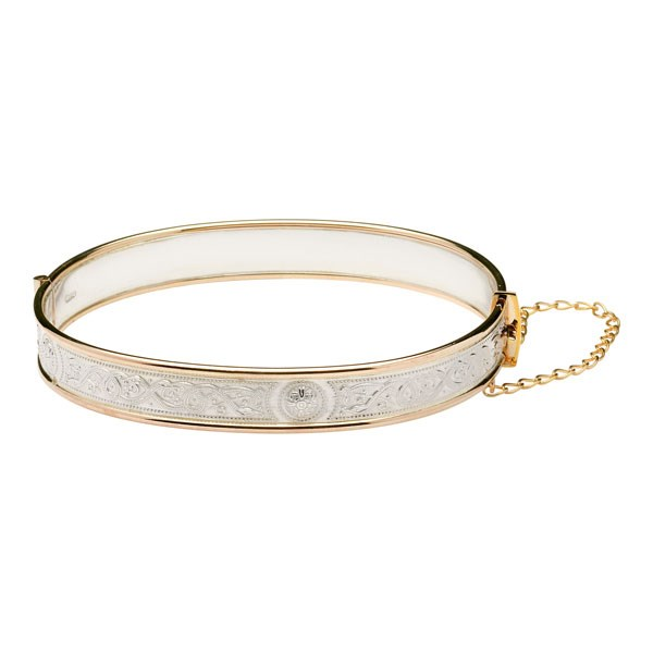 Celtic Warrior Silver and Rolled Gold Bangle