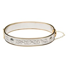 Wide Celtic Warrior Silver and Rolled Gold Bangle