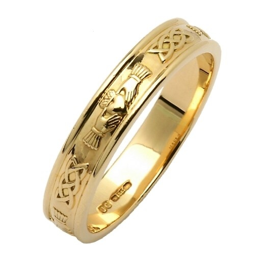 Claddagh & Celtic Knot Yellow Gold Narrow Wedding Band