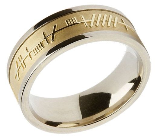 gold flat wed wedding white ring mens product design band rings ogham claddagh