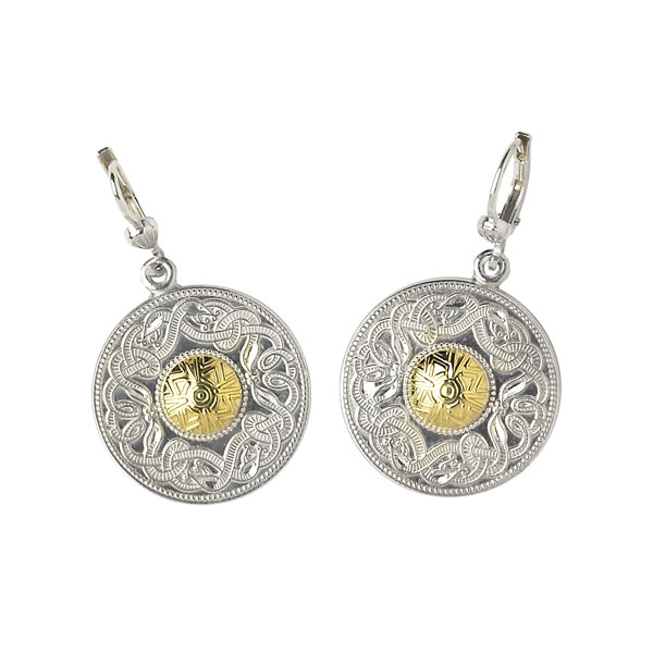 Celtic Warrior Large Earrings with 18k Gold Bead