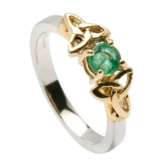 Emerald Trinity Knot Ring