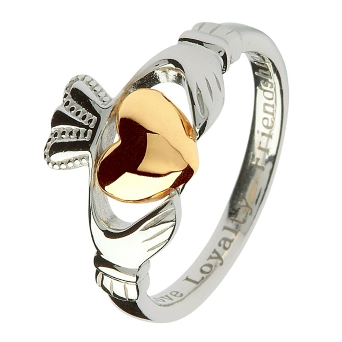 Silver Claddagh Ring With Gold Heart